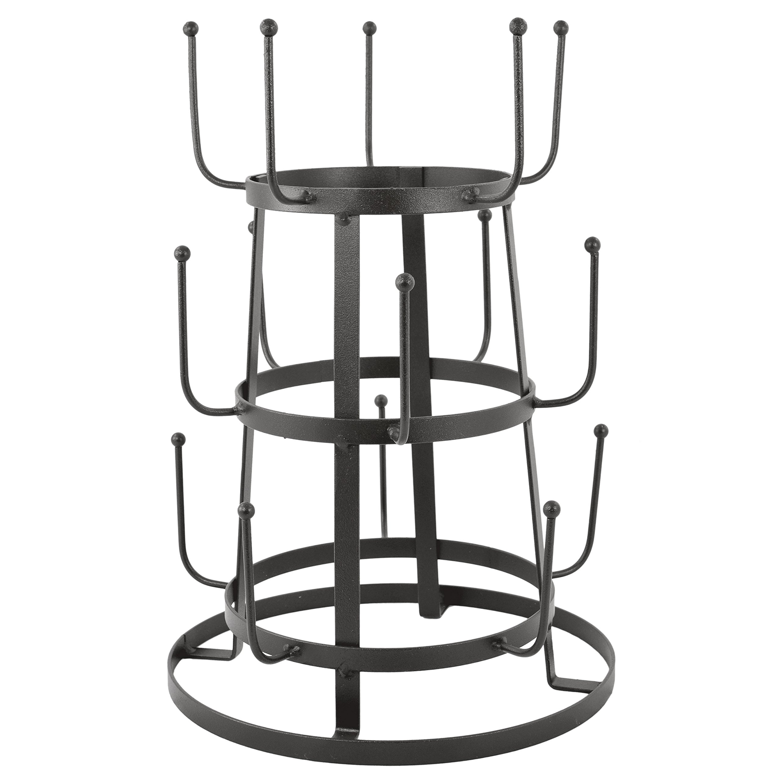 MyGift Vintage Rustic Gray Iron Mug/Cup/Glass Bottle Organizer Tree Drying Rack Stand by MyGift