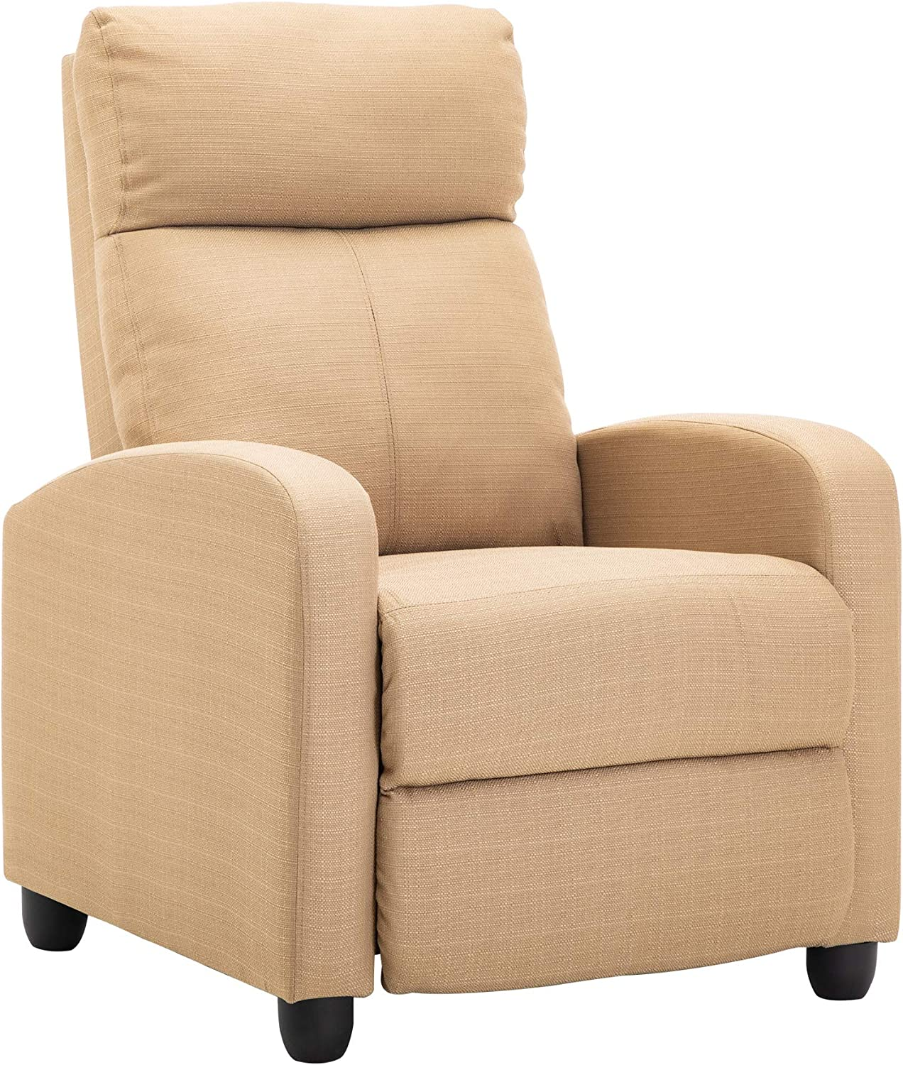 LSSBOUGHT Fabric Recliner Chair Adjustable Home Theater Single Recliner Sofa with Thick Seat Cushion and Backrest Modern Living Room Recliners, Beige
