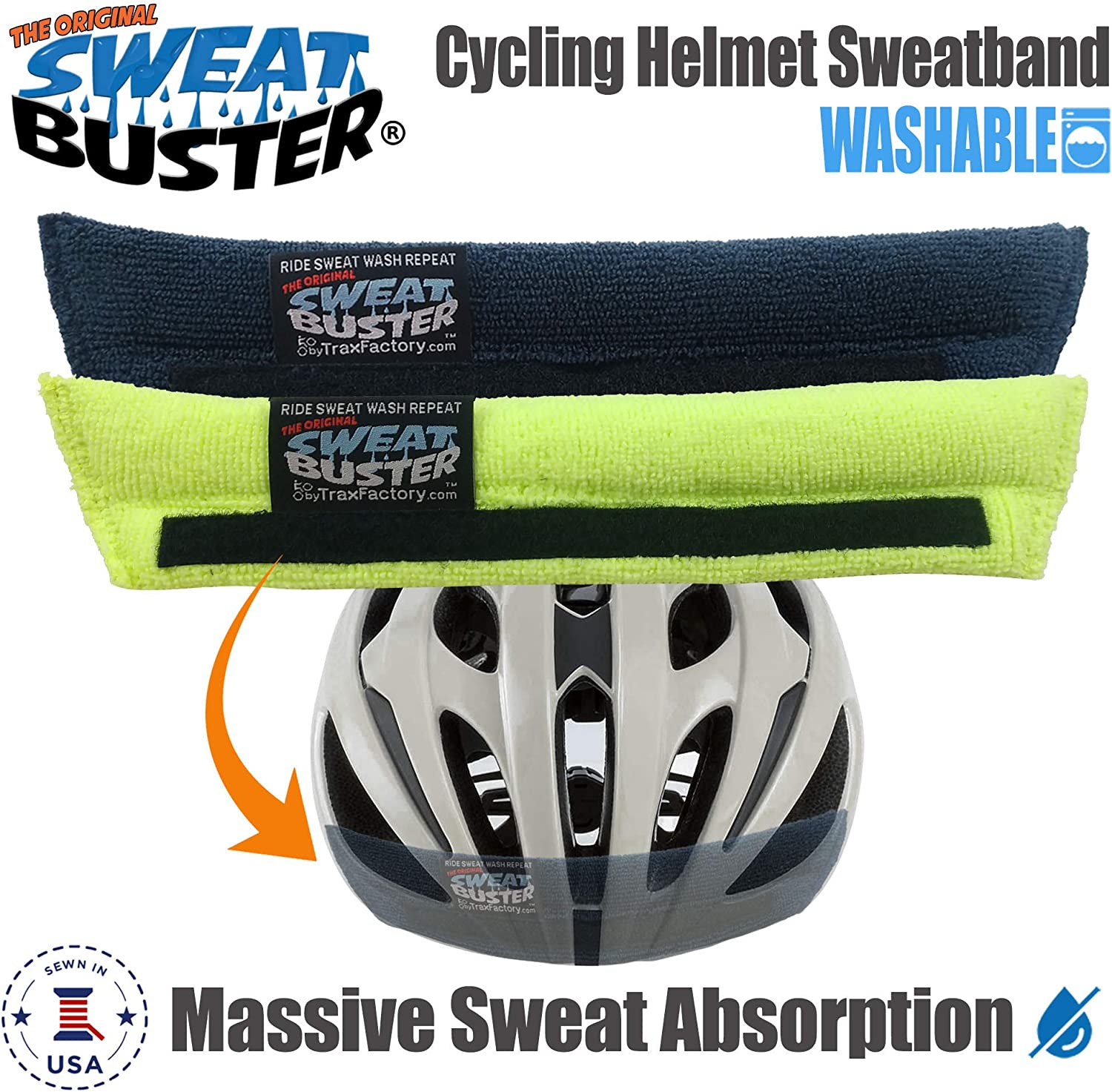 Sweat Buster Bike Helmet Sweatband – Stops Sweat Dripping, Keeps You Cooler, Premium Comfort, Simple Helmet Integration & Quick Removal for Washing. Mountain Biking, Road Biking or Any Cycling.