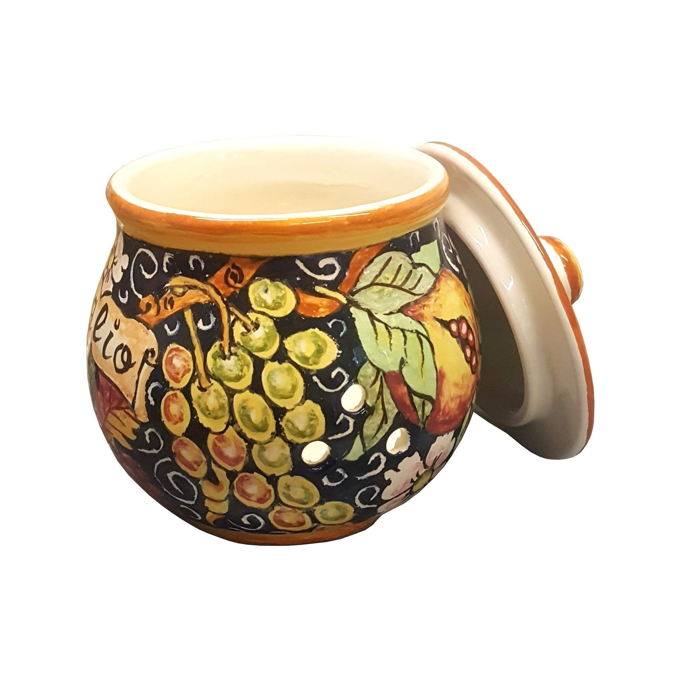 CERAMICHE D'ARTE PARRINI- Italian Ceramic Garlic Brings Jar Holder Hand Painted Made in ITALY Decorated Grape Tuscan Art Pottery by CERAMICHE D'ARTE PARRINI since 1979 (Image #2)