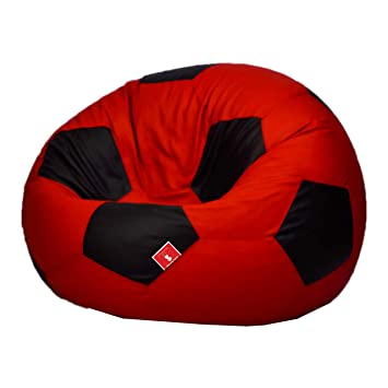 Comfy Bean Bags Football XXXL Bean Bag without Fillers Cover (Red and Black)