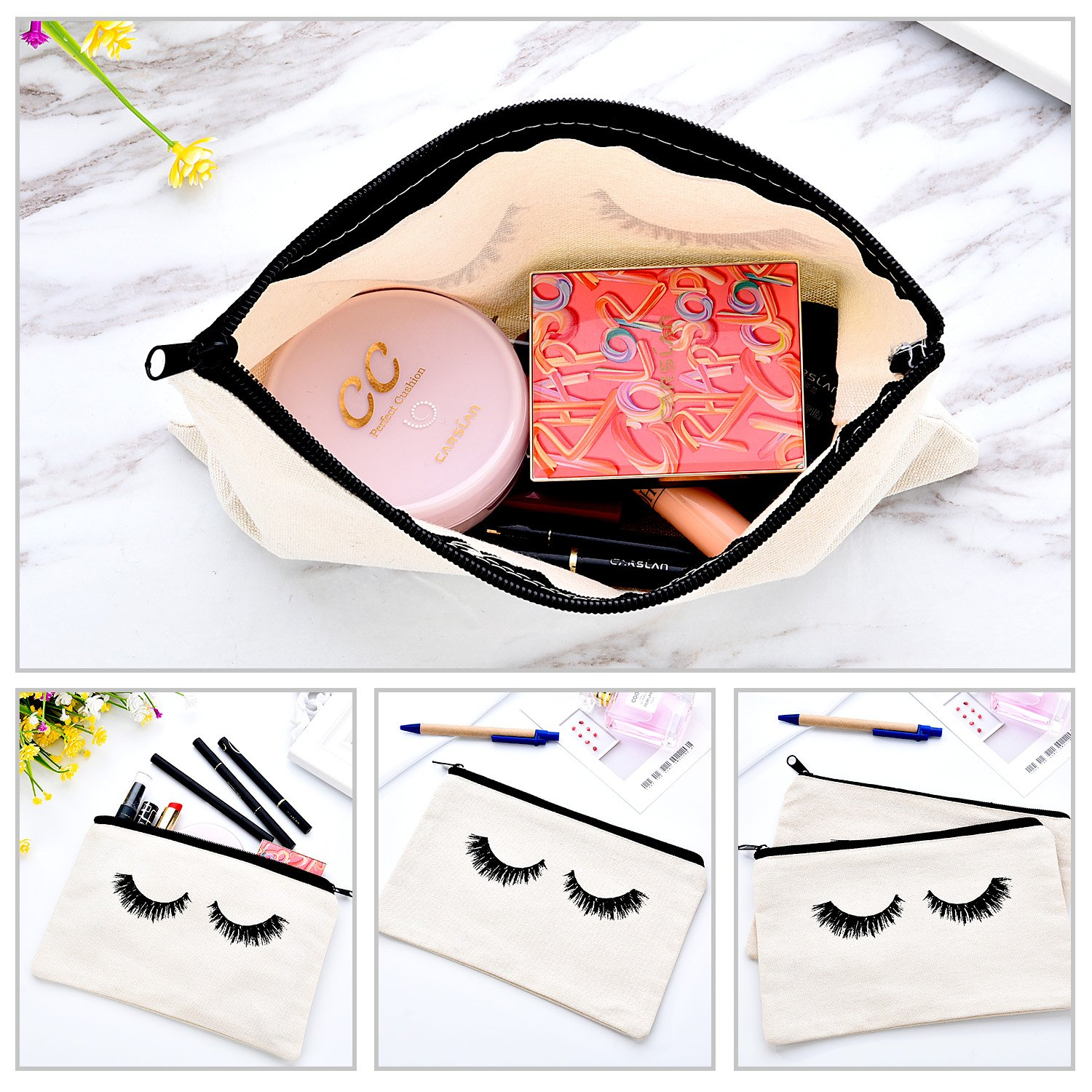 10 Pieces Eyelash Makeup Bags, Travel Cosmetic Pouches with Zipper for Women - White