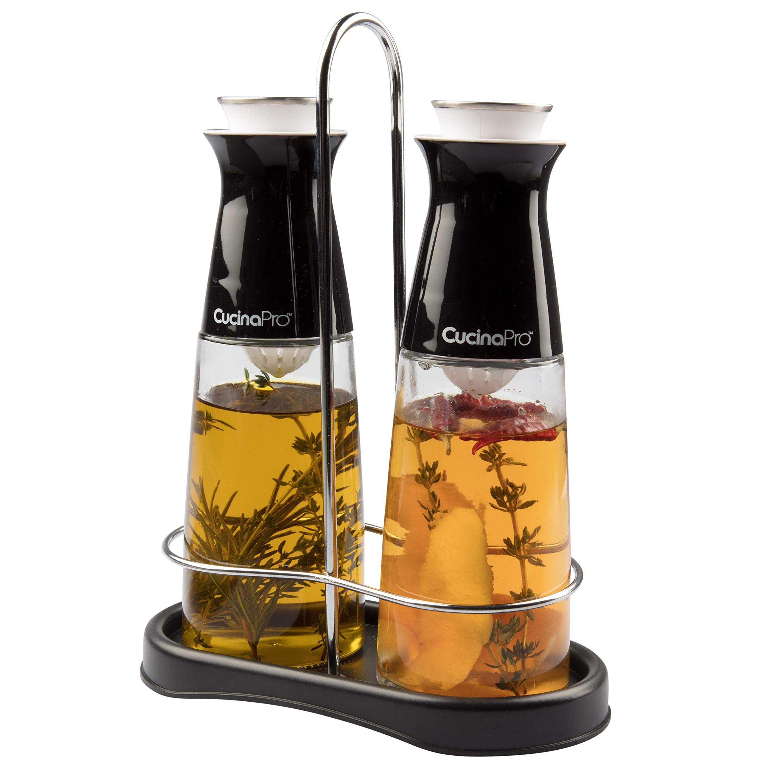 Olive Oil and Vinegar Infuser Bottle Dispenser Set of 2- Glass Dual Cruet Set (10 oz) w Built In Filter for Infusion and Clean Pouring- Storage Rack and Olive Oil/Vinegar Recipes Included by CucinaPro (Image #3)