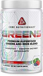 Core Nutritionals Greens Platinum Premium Superfood Greens and Reds Blend 30 Servings (Berry)