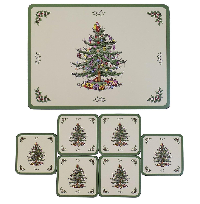 Amazon SET OF 6 SPODE CHRISTMAS TREE DESIGN CORK BACKED