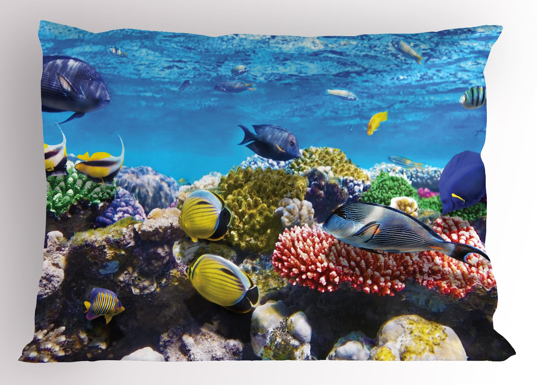 Lunarable Ocean Pillow Sham, Tropical Corals Fish School Natural Life in Shallow Underwater Marine Seascape Image, Decorative Standard King Size Printed Pillowcase, 36 X 20 inches, Multicolor