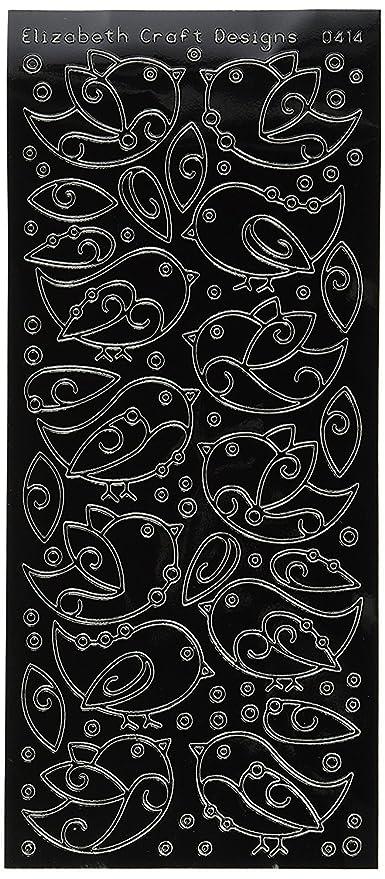 ELIZABETH CRAFT DESIGNS FLOWER LABELS BLACK PEEL-OFF STICKERS A4105