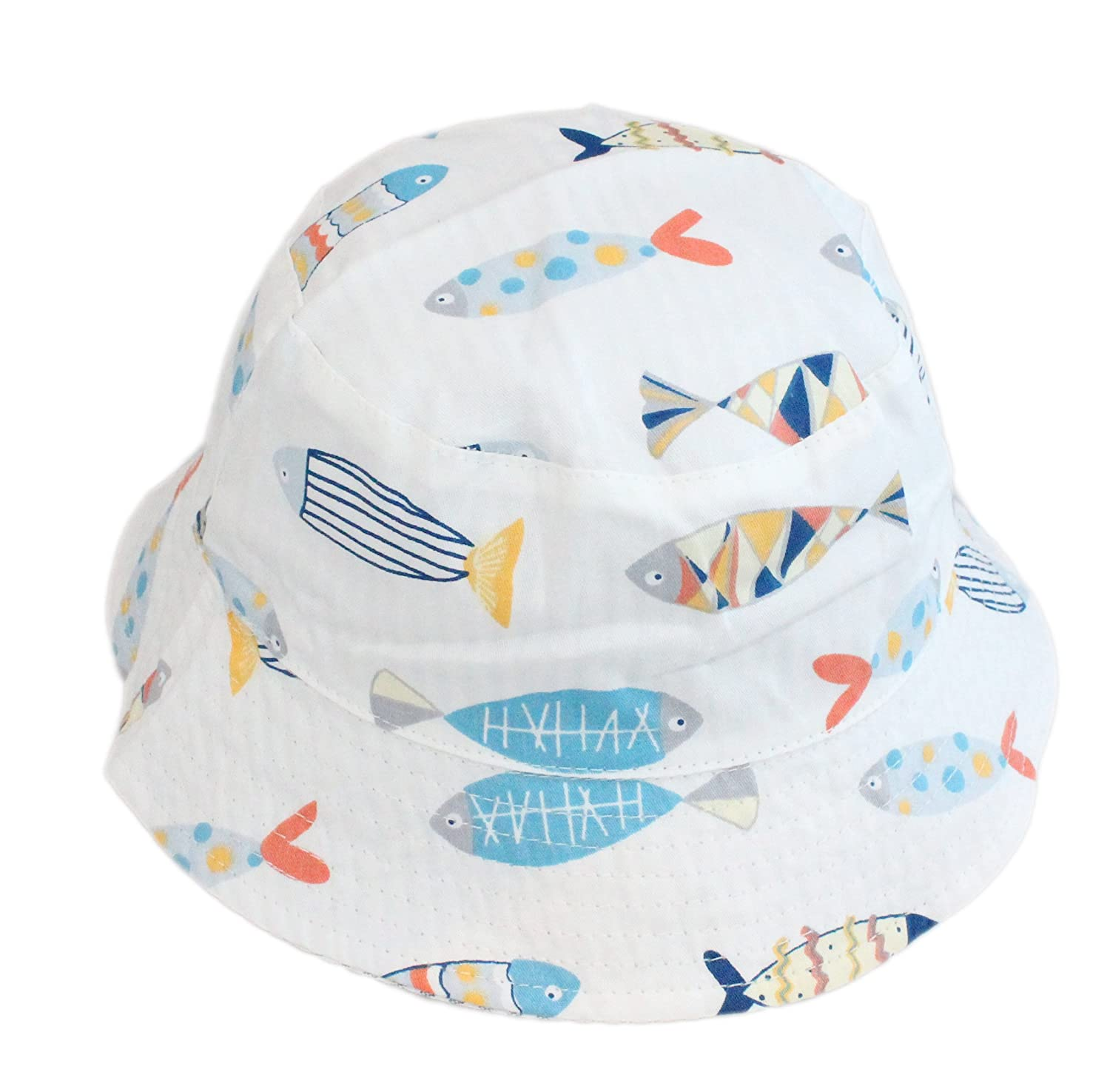 Boys Girls Reversible Cotton Fish Striped Bucket Sun Hat Age 1 to 6 with Chin Strap