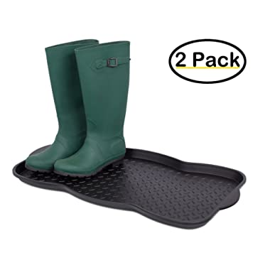 Internet's Best Multi-Purpose Boot & Shoe Tray   2 Qty   29.75 x 15 Round   Protects Floors from Water Dirt   Waterproof All Weather Indoor Outdoor Use   Pet Bowl Mat