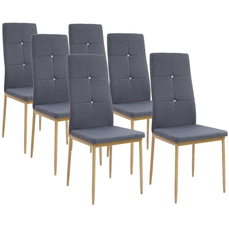 Albatros Esszimmerstühle Crystal 6-er Set Anthrazit Grau, Stoffbezug, Bequem & Ergonomisch geformte Lehne, Küchenstühle