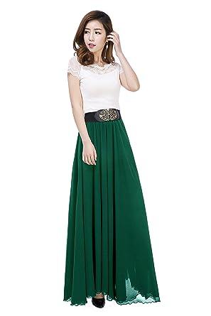 Sinreefsy Women Summer Chiffon High Waist Pleated Big Hem Full Ankle Length Beach  Maxi Skirt a9f78dd5e34