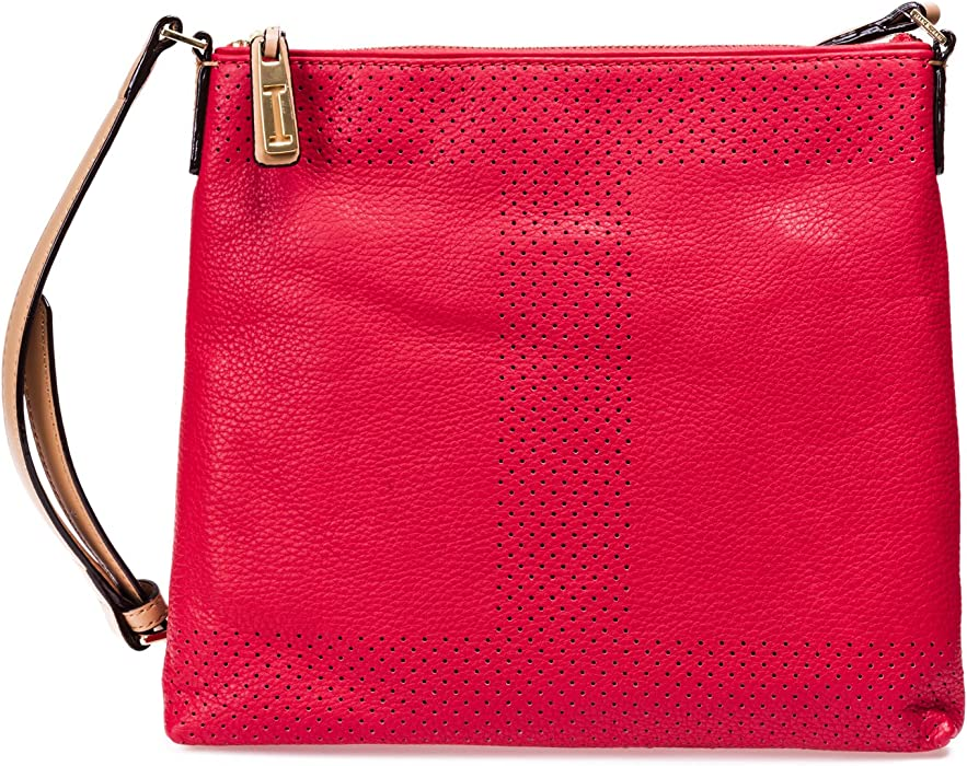 5e7c4c53bb Isaac Mizrahi Womens Fashion Designer Handbags Kay Leather Crossbody  Shoulder Bag Watermelon Red Red
