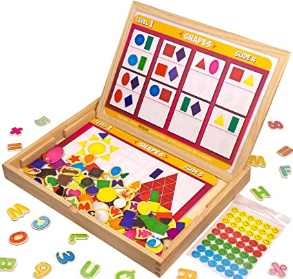 Letters//Numbers//Shape 110 Pieces with 5 Colored Dry Erase Markers Set Learning /& Educational Game Toy for Kids INNOCHEER Wooden Magnetic Puzzles