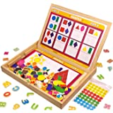 Letters Numbers Shapes and Colors Magnets Set Educational Toy 20 Tasks On Worksheets XL Wooden Magnetic Board Blackboard Writing Drawing Doodle Side Dry Erase Board For 3 to 6 Year Old by JQP Toys
