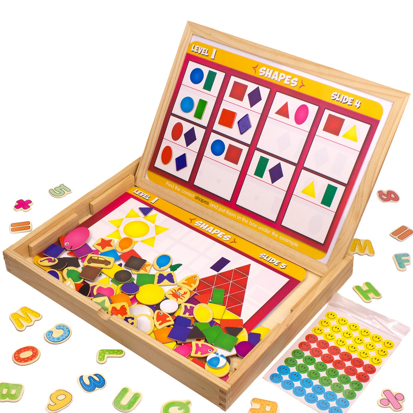 JQP Letters Numbers Shapes and Colors Animals Magnets Set | Learning Wooden Puzzle | Drawing Board | Blackboard | Wooden Magnetic Board ... by JQP