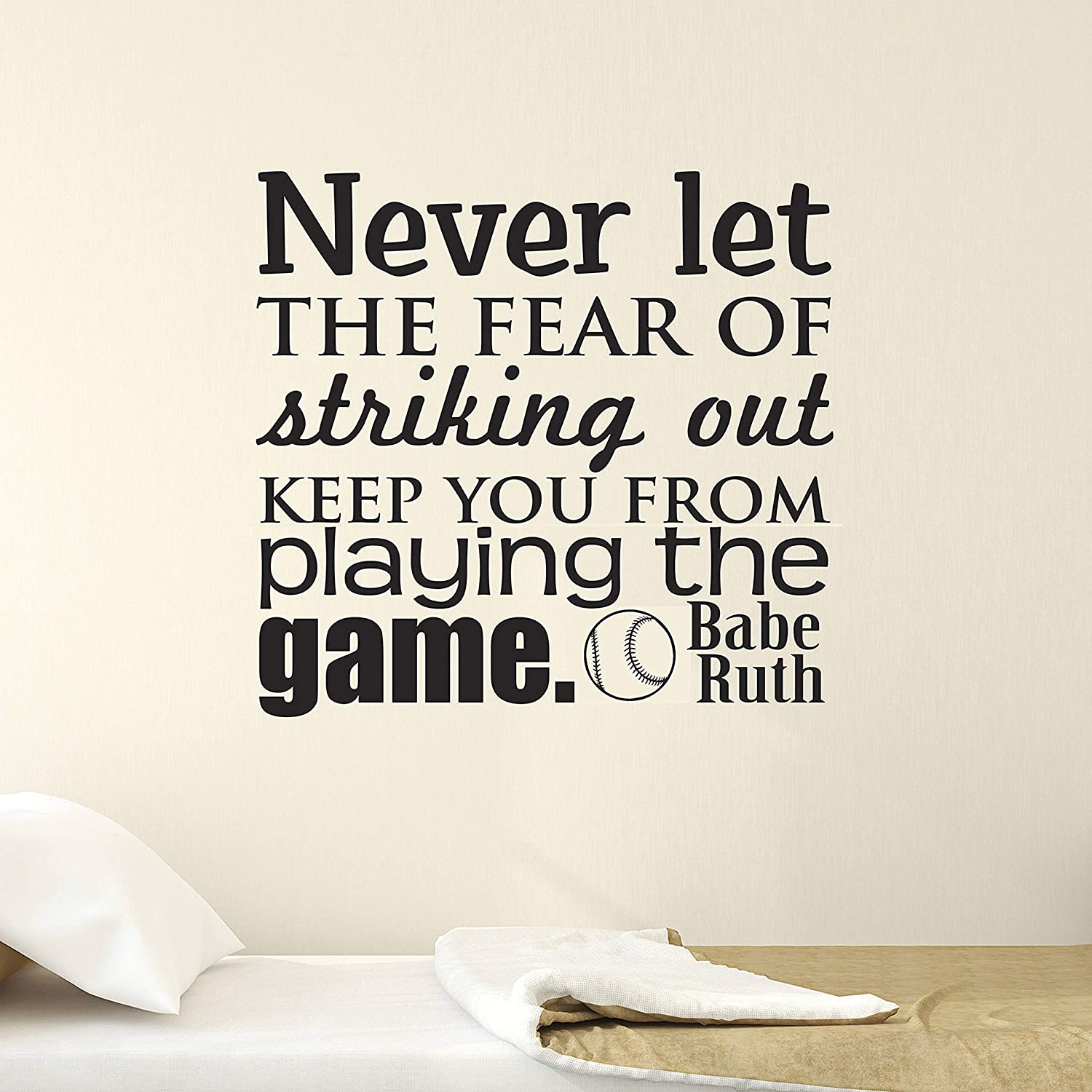BYRON HOYLE Sports Wall Decal, Boys Bedroom Decal, Babe Ruth, Bedroom Wall Decal, Baseball, Youth Wall Decal, Vinyl Wall Decal, Fear of Striking Out