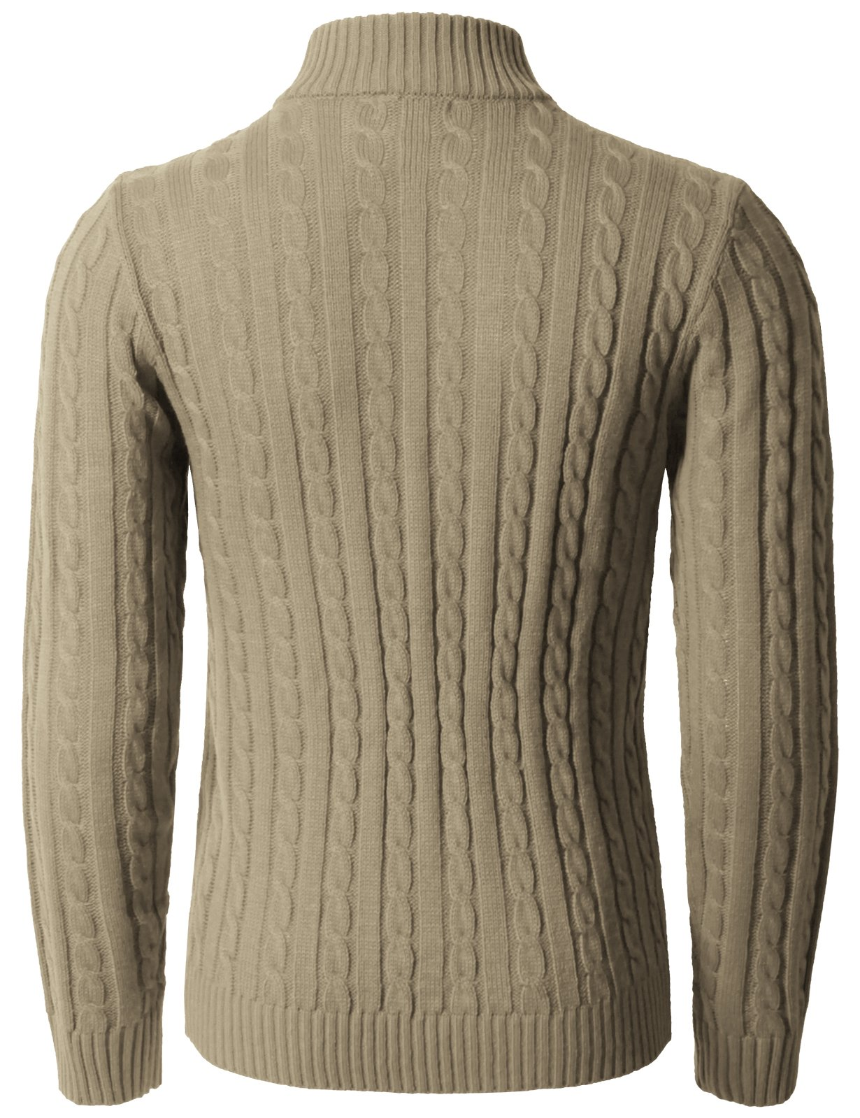 H2H Mens Casual Slim Fit Pullover Sweaters Long Sleeve Knitted Fabric Zip Up Mock Neck Polo Sweater