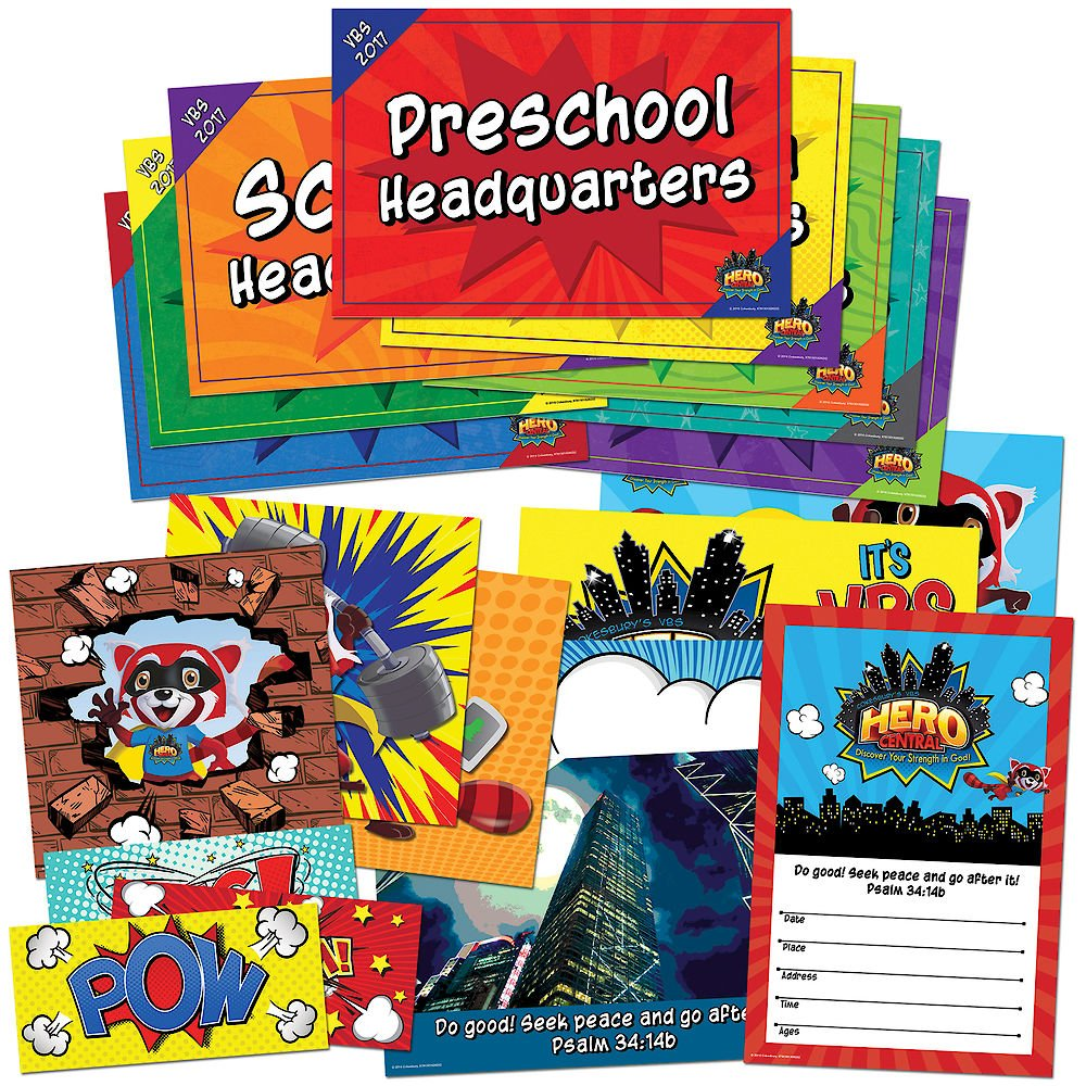 Read Online Vacation Bible School VBS Hero Central Activity Center Signs & Publicity Pak: Discover Your Strength in God! pdf epub