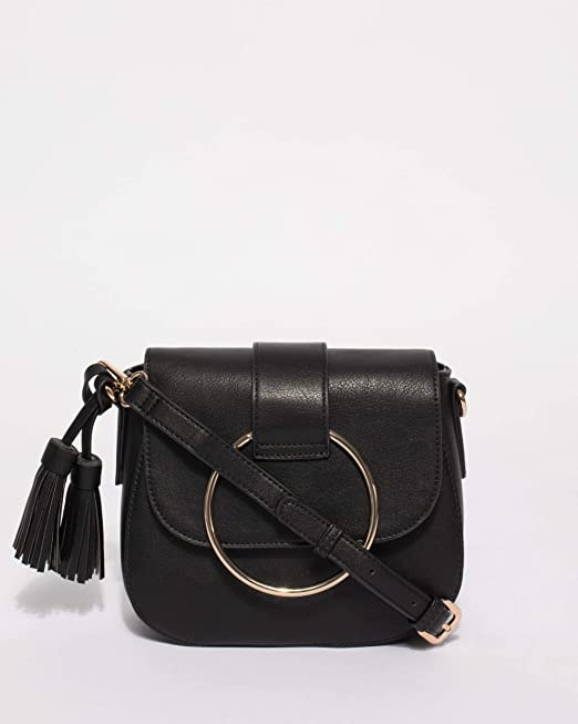 ef9682fe451d Colette Hayman - Black Smooth Riley Ring Saddle Bag  Amazon.com.au ...