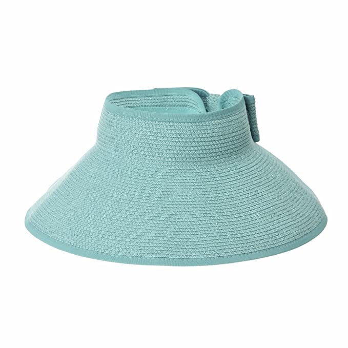 de160f9f02cc6 WITHMOONS Womens Sun Visor Packable Wide Brim Roll-Up Beach Straw Hat  SLV1020 (Blue