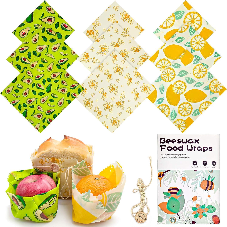 Beeswax Food Wraps Set 9pcs Multi-size Reusable Alternative Plastic Wrap Eco-friendly Cute Buzzee Food Wrap Sandwich Cheese Storage Paper