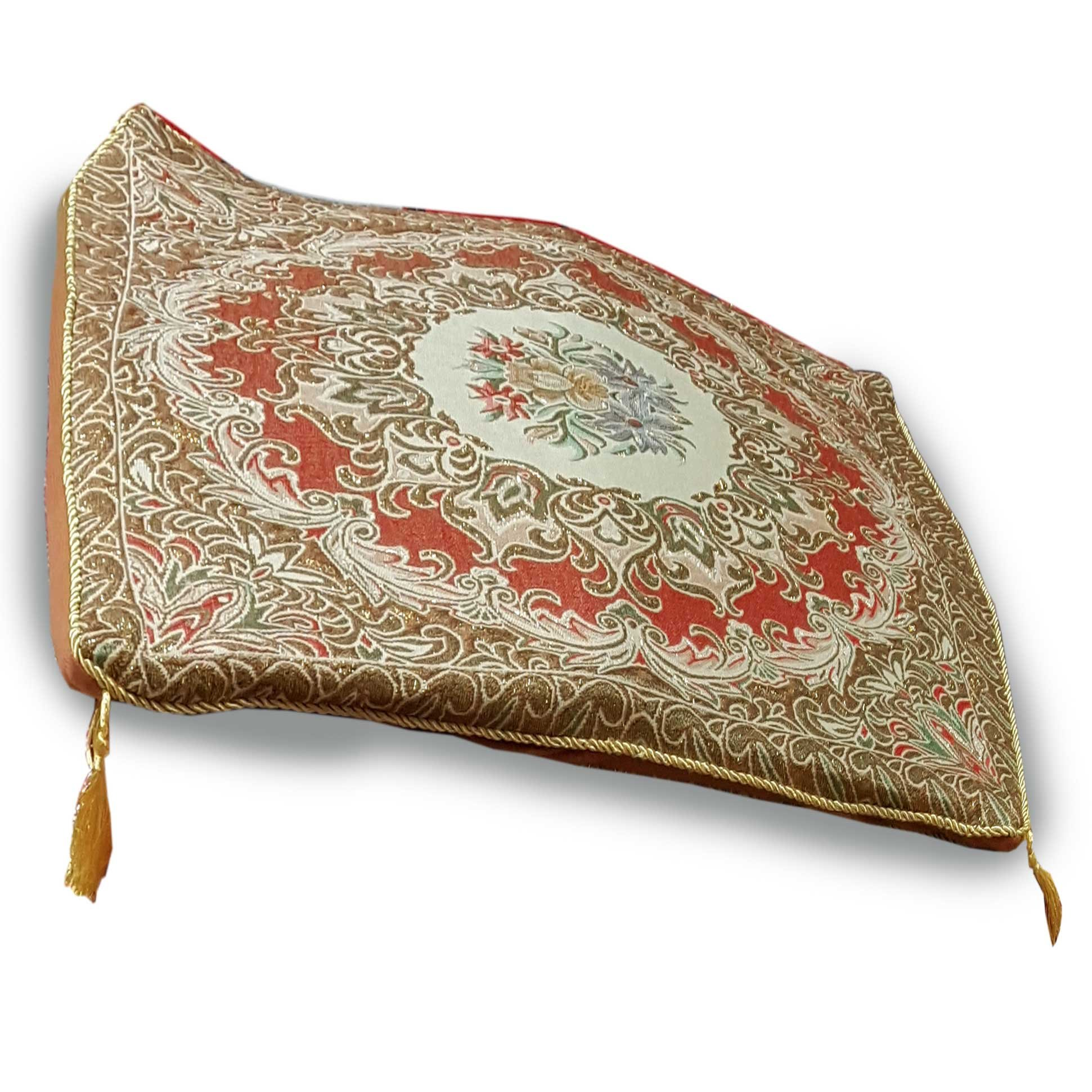 Thai asana Buddhist, meditation cushion, Gold / Red size 24X24 inches by Thai OTOP