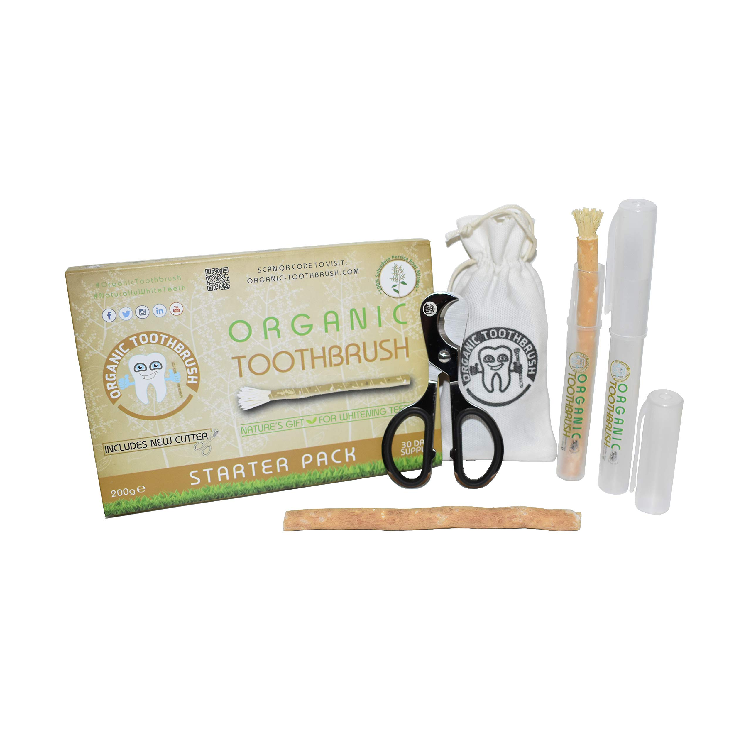 The Organic Toothbrush - VEGAN Miswak - Natural Teeth Whitening Kit - Starter Pack - 2 Biodegradable Miswak Sticks, 2 Portable Cases & Cutter - Environmentally Friendly Salvadora Persica Tree Root product image
