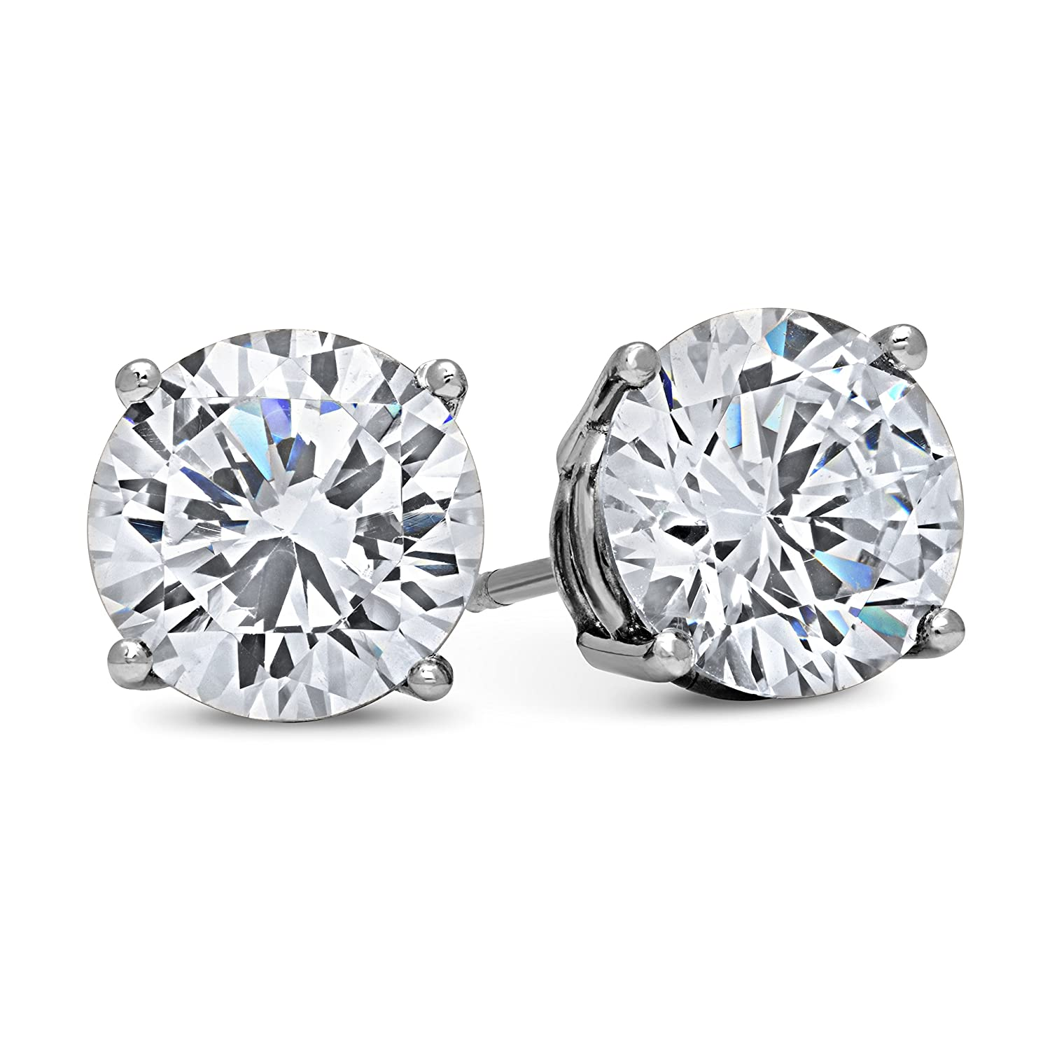 5c5de1b6b Amazon.com: DTLA 14k White Gold Solid Cubic Zirconia Stud Earrings (0.5  carats): Jewelry