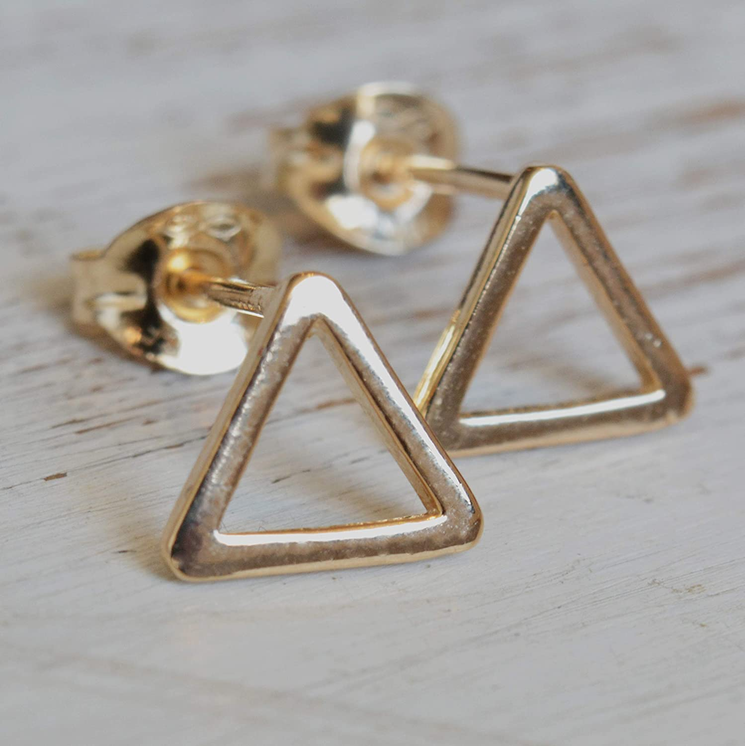 Tiny 8mm Open Triangle Unisex Stud Earrings 14K Gold Filled Jewelry for Men and Women