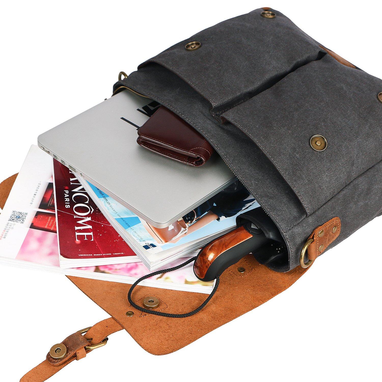 Lifewit Sac Bandouli/ère pour Ordinateur Portable de 14 ou 13 pouces Sac /à /Épaule Homme R/étro Vintage Serviette en Toile avec Couverture de Cuir V/éritable