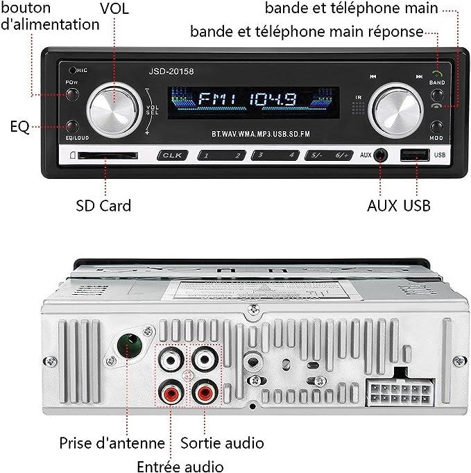 Adaptateur DIN ISO avec 2 Petits C/âbles Besttrendy de 4x60W poste radio voiture Autoradio Bluetooth avec T/él/écommande Radio de Voiture st/ér/éo vid/éo FM Radio 1 Grand C/âble