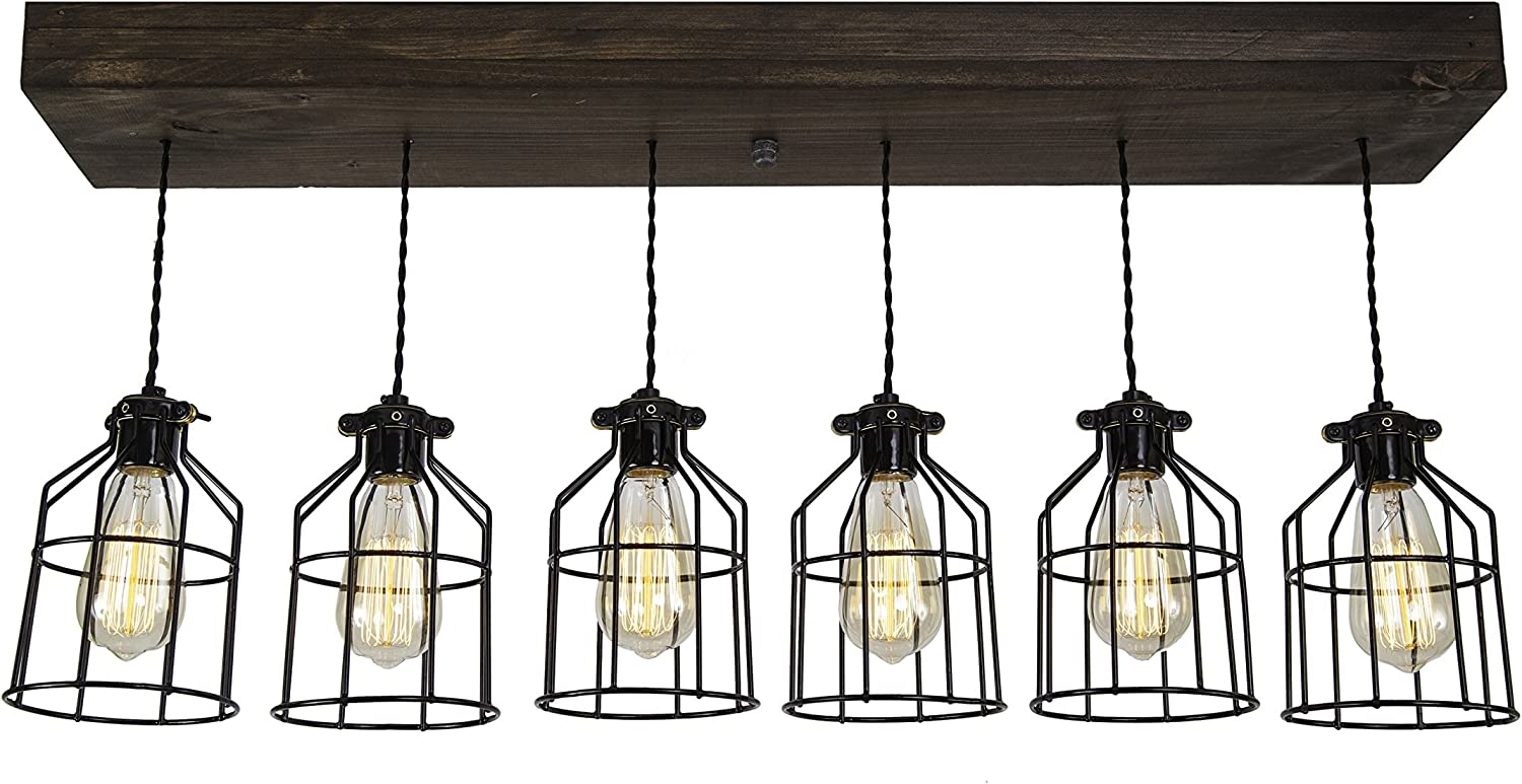 West Ninth Vintage Fayette Wood Pendant Chandelier Light – Farmhouse Rustic Lighting for Kitchen Island – Dining Room – Bar – Industrial – Billiard Table – Edison Cages – Six Pendants – Jacobean