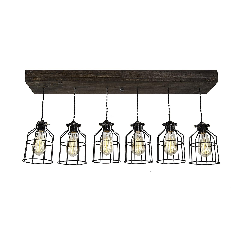 West Ninth Vintage Fayette Wood Pendant Chandelier Light | Indoor Home Ceiling Fixture W/Caged lights