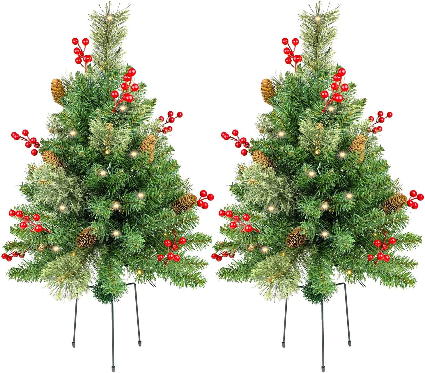 HomeKaren Christmas Tree 30 inch Prelit 2 Set Pathway Porch Christmas Trees Pre-Light LED Battery Operated Outdoor Xmas Decor for Entrance Driveway, Yard, Garden, Red Berries, Pine Cones