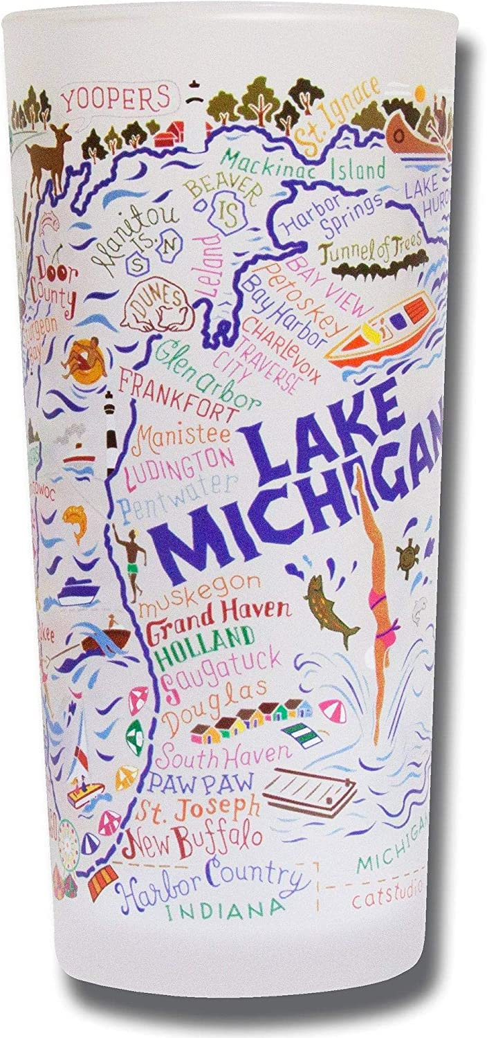 catstudio Lake Michigan Drinking Glass   Geography Inspired Artwork Printed on a Frosted Cup