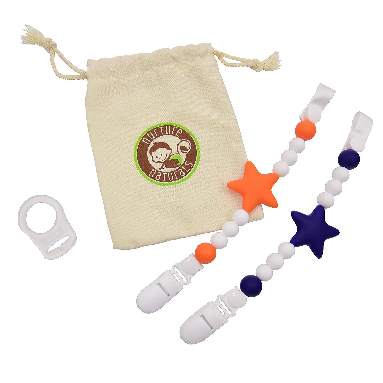 Catena ciuccio bambina/bambino (confezione da 2), portaciuccio in silicone, anello adattatore divertente, colorato e senza (blu + arancione) Nurture Naturals