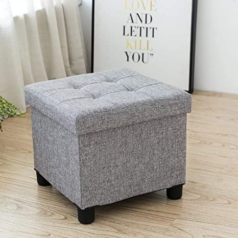 Cassilia Foldable Storage Ottoman Square Cube Coffee Table Multipurpose  Footrest Stool for Bedroom and Living Room Storage (Grey)