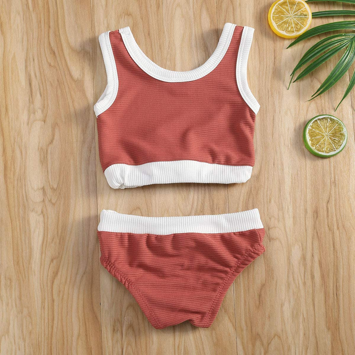 WALLARENEAR Toddler Baby Girl 2Pcs Swimsuit Striped Sleeveless Vest Top Briefs Baithing Suit Bikini Outfit