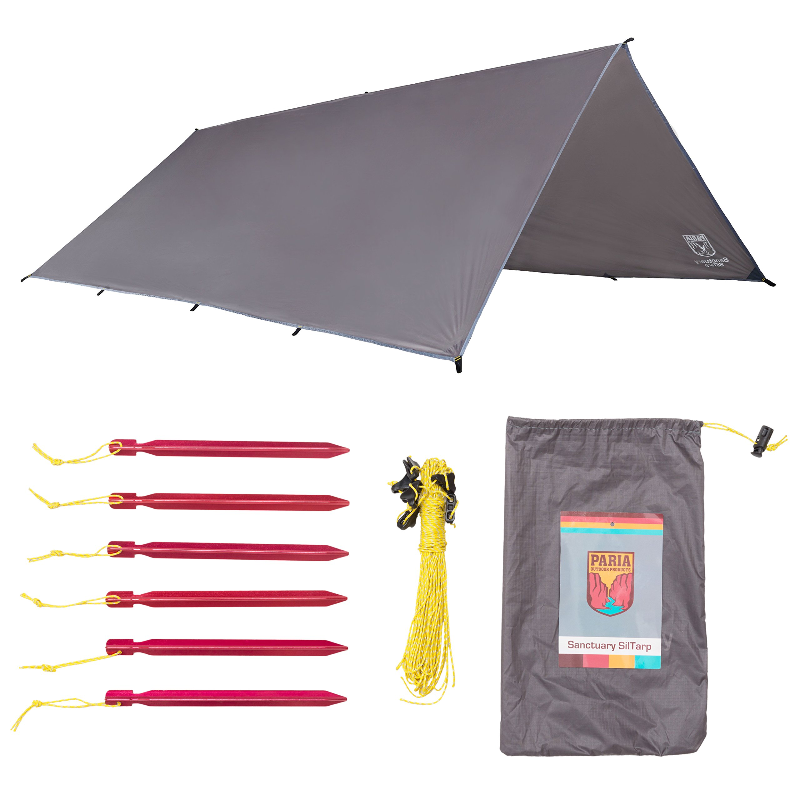 Sanctuary SilTarp - Ultralight and Waterproof Ripstop Silnylon Rain Shelter Tarp, Guy Line and Stake Kit - Perfect for Hammocks, Camping and Backpacking (10 feet by 7/5 feet - Tapered Cut) by Paria Outdoor Products