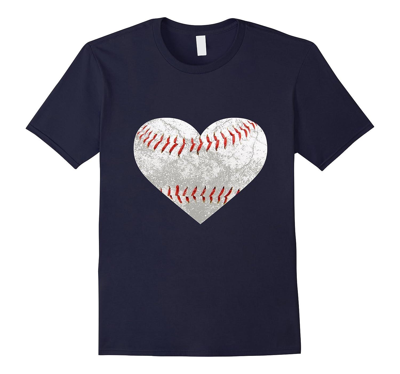Baseball Distressed Heart T-Shirt Cute Mom Love Tee Gift-CD