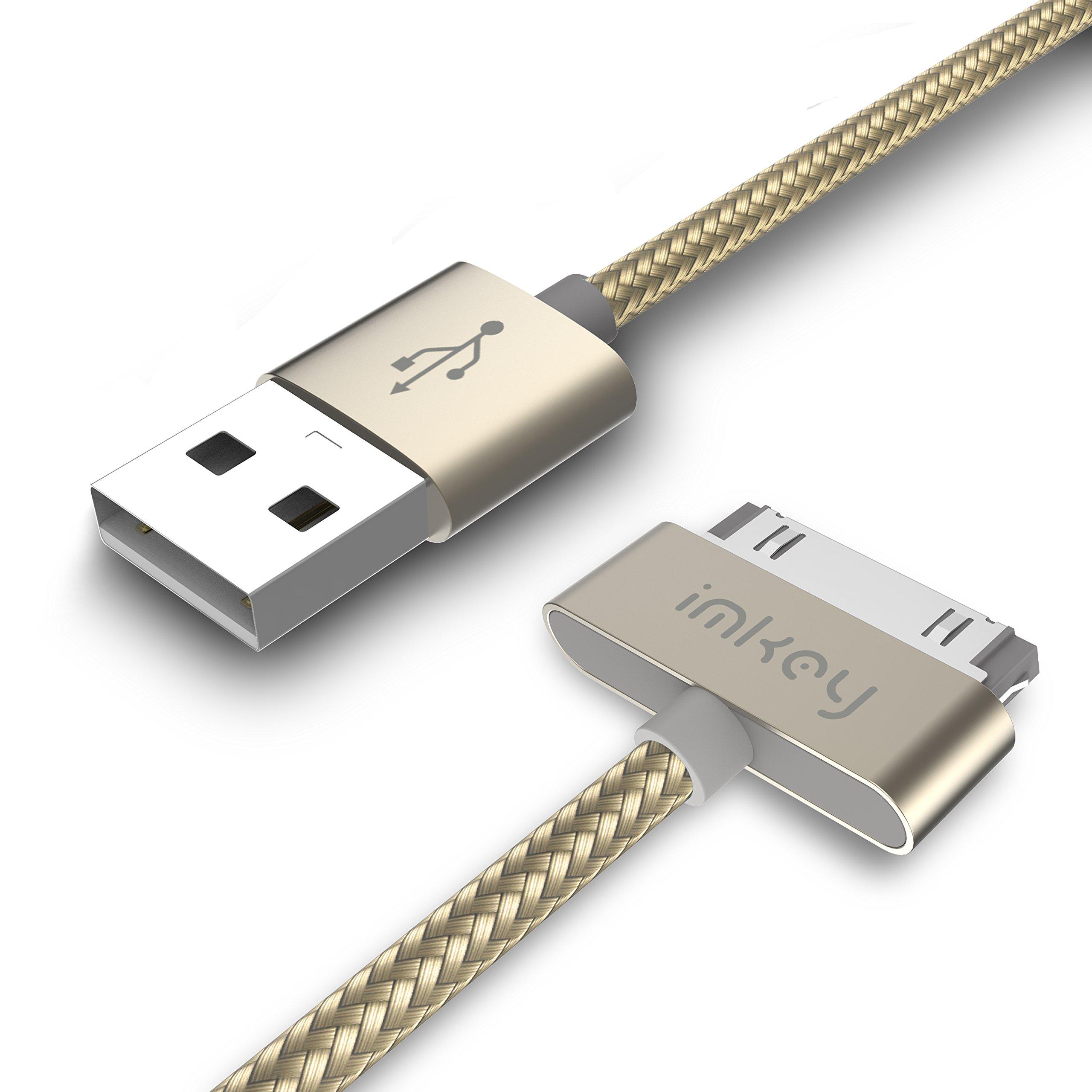 """Samsung Galaxy Tab Cable, IMKEY Premium 6.5 Feet Tangle-Free Braided USB to 30 Pin Sync Data Fast Charging Cable for Samsung-Galaxy Tab 2 10.1"""" 7.0"""" 7.7"""" 8"""".9"""" (Golden)"""