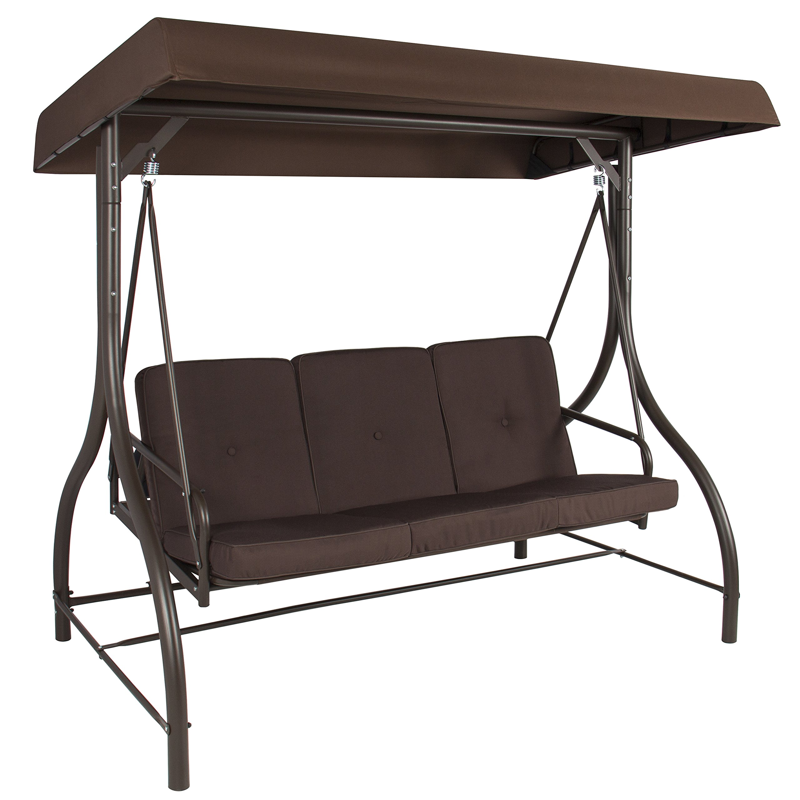 Best Choice Products Converting Outdoor Swing Canopy Hammock Seats 3 Patio Deck Furniture, Brown