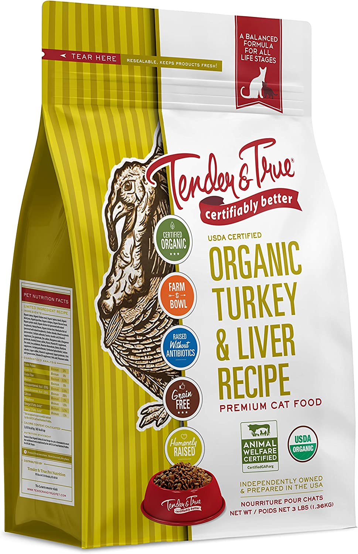 Tender & True Organic Turkey & Liver Recipe Cat Food, 3 lb