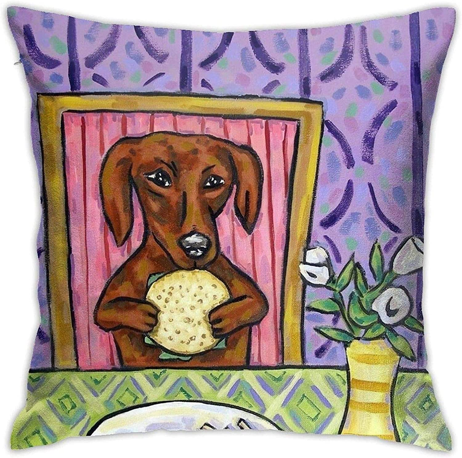 Andy Pansy Dachshund Ugliest Ugly FUUNY Red Food Art Dog Pattern Throw Pillow Covers Cushion Cover Pillowcase for Sofa Couch Decor Home Decor 18x18 Inch (45 X 45cm)