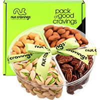 Holiday Nut Gift Basket, Green Ribbon (Meduim Tray 4 Mix) - Thanksgiving, Christmas Food Arrangement Platter, Variety…