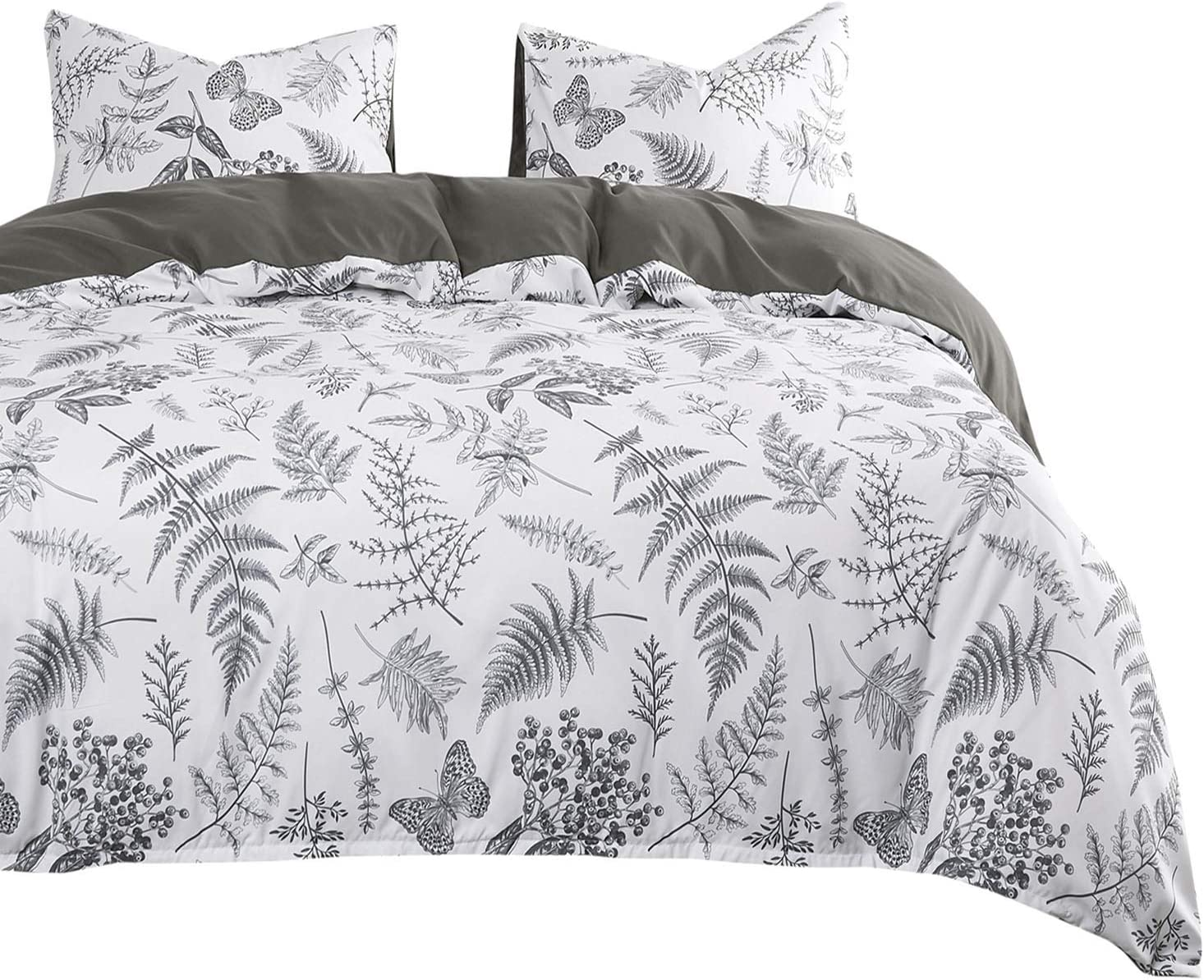 Wake In Cloud - Botanical Comforter Set, Plant Tree Leaves and Butterfly Pattern Printed in Black White Gray Grey, Soft Microfiber Bedding (3pcs, Queen Size)