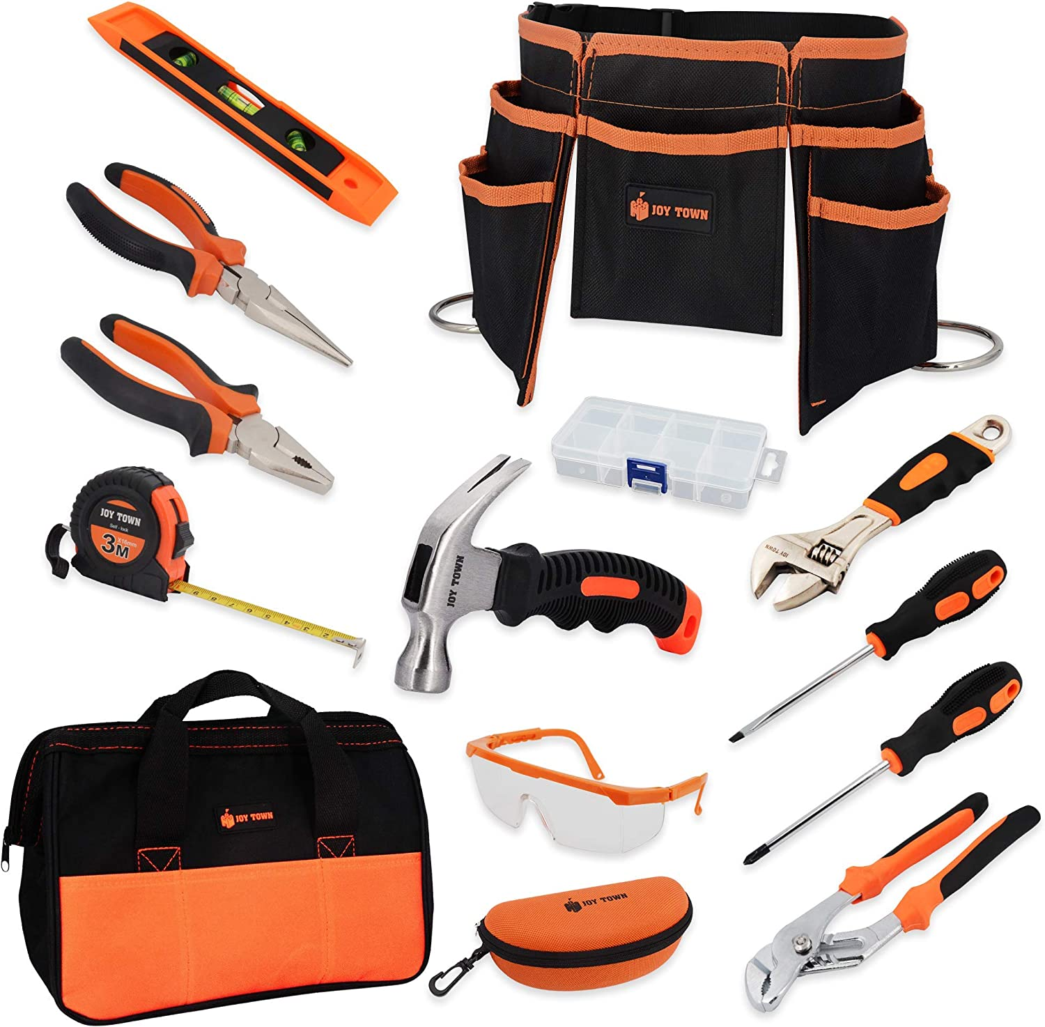 JoyTown Kids Real Tool Set - Junior Steel Forged Tool Kit for Children with Real Hand Tools, Kids Tool Belt, Portable Tool Bag, Perfect Learning Tools for Home DIY (Orange & Black)