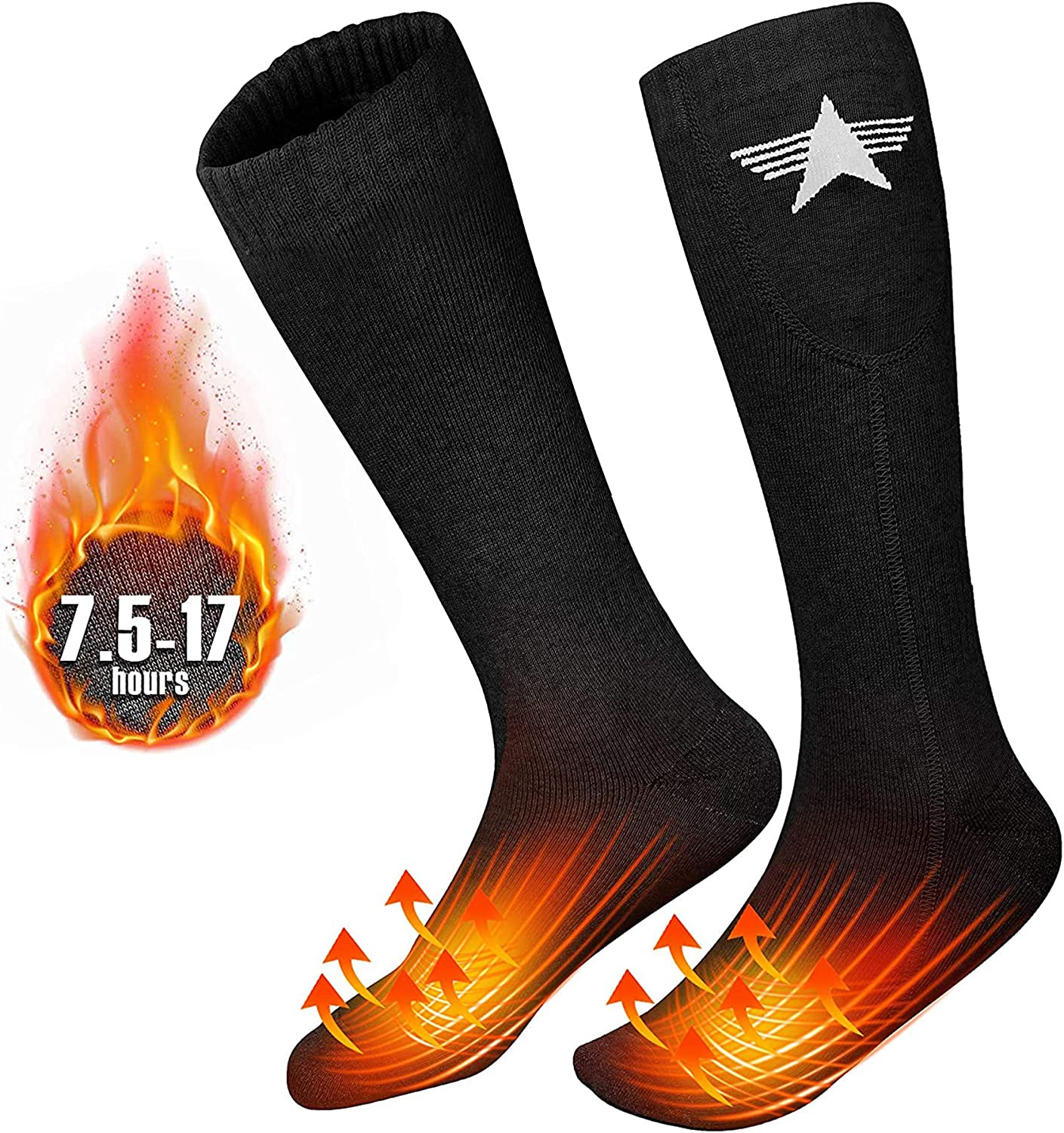 Rechargeable 3 Heating Settings Thermal Sock Winter Outdoor Novelty Foot Warmer Jomst Upgraded Electric Heated Socks for Men Women Fits US Size 6-14.