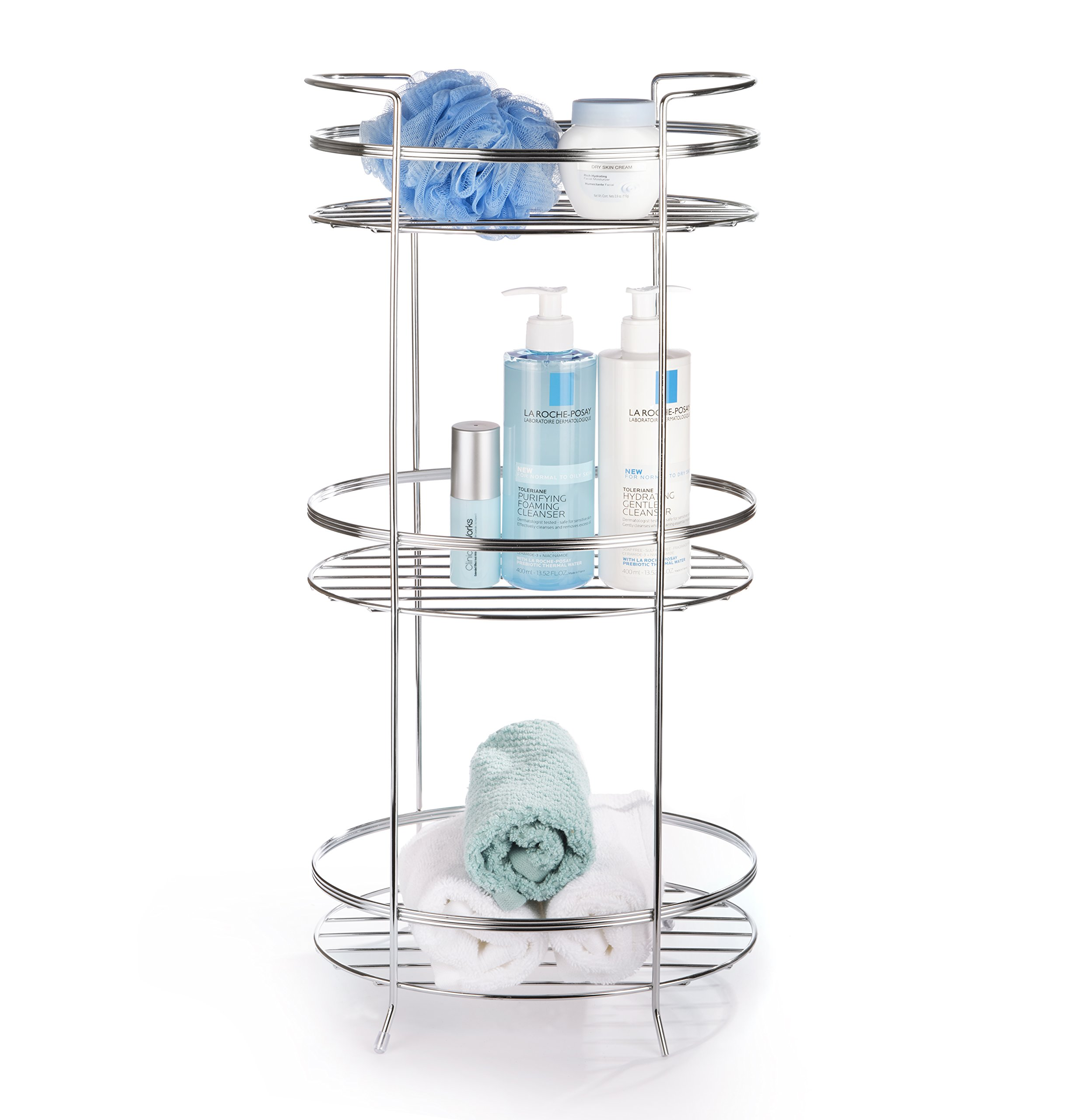 AMG and Enchante Accessories Free Standing Bathroom Spa Tower Storage Caddy, FC100005 CHR, Chrome