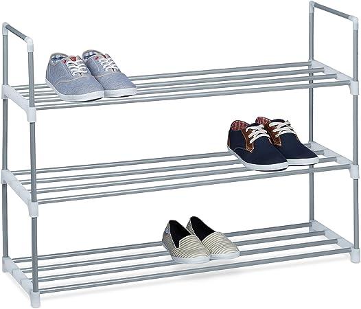 scaffale portascarpe con 3 ripiani mobileperscarpe ideale per ingresso verniciato a polvere color arento 93 x 90 x 31 cm con le seguenti misure H X B X T: ca Relaxdays Scarpiera argento